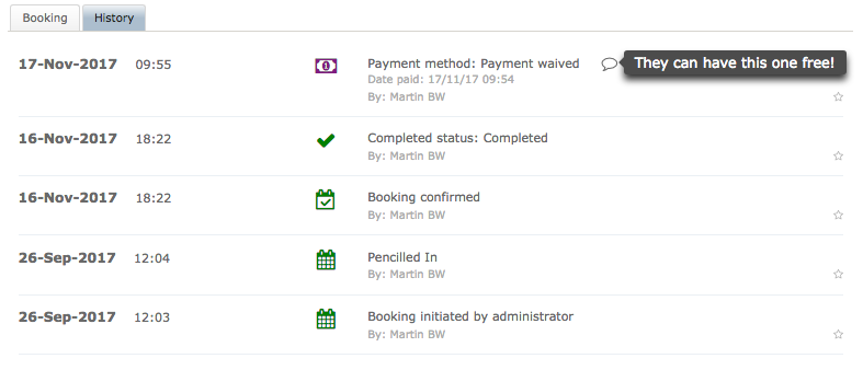 Jezzam - Online booking payment history