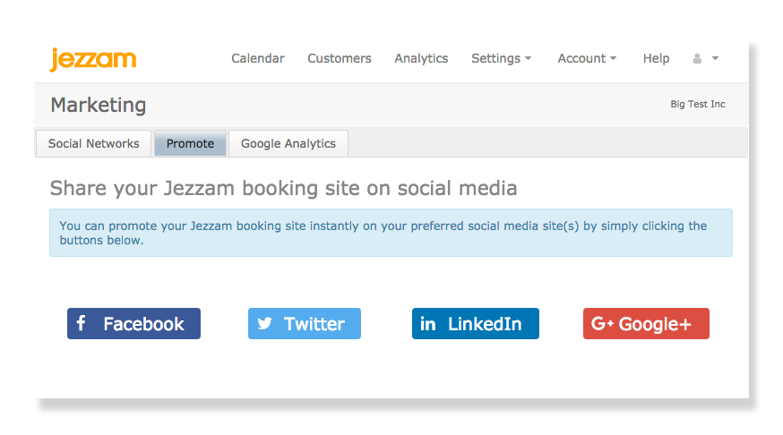 Jezzam - Promote your appointment scheduling on Social Media