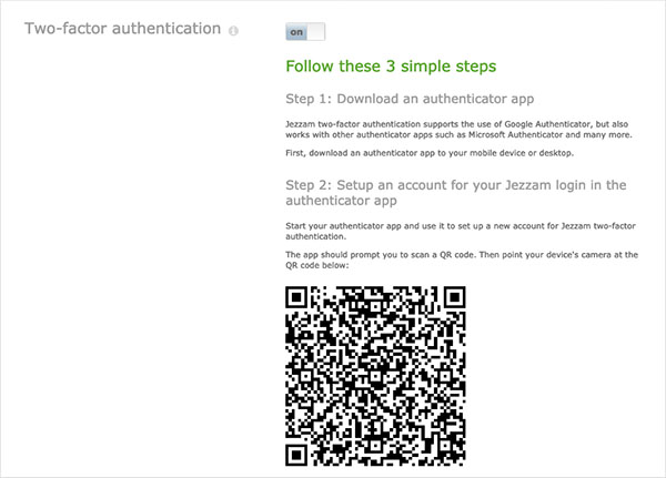 Jezzam - Setting up two-factor authentication is easy